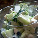 recette Verrines de concombre au chèvre frais et ciboulette.