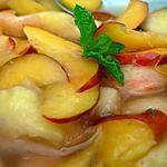 recette Carpaccio de pêches et nectarines à la menthe et basilic citron.