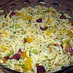 recette Orzo parfumé à l'orange, aux abricots séchés et aux olives