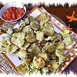 recette beignets d'aubergine au coulis de tomates