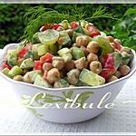 recette Salade de pois chiches rafraîchissante et sa vinaigrette crémeuse à l'aneth
