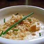 recette Crème de thon au basilic et son croustillant ail et fines herbes.