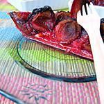 recette Tarte quetsches et pralines roses aux flocons de quinoa