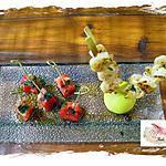 recette coeurs de tomates et crevettes , sauce -soja menthe