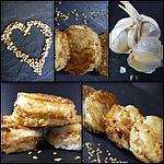 recette BOUCHEES TOASTEES AUX CREVETTES (Ail, Gingembre et sésame)