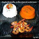 recette Crevettes thai persillées et Purée de carottes/cumin