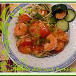 recette Crevettes sauté, sweet chilli sauce, et petits légumes