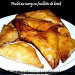 recette Poulet au curry en feuilletés de brick