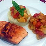recette Pavé de truite sur galette de choux fleurs à la concassée de tomate et courgette