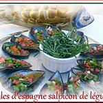 """recette moules d""""espagne, salpicon de légumes"""