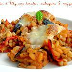 recette Gratin d'Ebly aux Tomates, Aubergines & Mozzarella