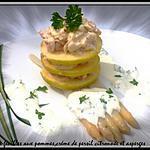 recette le mille- feuilles aux pommes,crème de persil et asperge