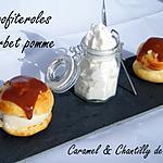 recette Ooo Profiteroles à la pomme , caramel et chantilly au Cidre ooO