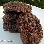 recette ~Biscuits au gruau, chocolat et beurre d'arachides sans cuisson~