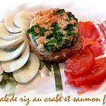 recette timbale de riz au crabe et saumon fumé