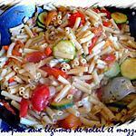 recette sauté de pate aux légumes,du soleil et mozzarella