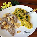 recette escalope de veau à l'ail et risone en risotto