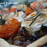 recette ** Tarte au chèvre rôti parfumés au Romarin sur lit d' oignons et d' échalotes confits, caramélisés au miel **