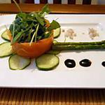 recette Terrine de saumon fumé à la roquette et aux asperges vertes, sauce au miel doux