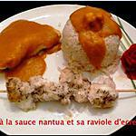recette lotte à la sauce nantua et sa raviole d'écrevisse