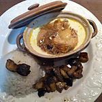 recette Mini-cocotte de sole et saint-jacques avec son riz accompagné de sa poêlée de cèpes.