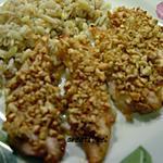 recette Aiguillettes de poulet au miel et cacahuètes (ultra rapide) (prépa 10 mns)