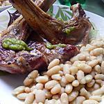 recette Côtelette d'agneau et haricots au pesto