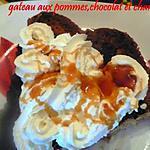 recette gateau aux pommes,chocolat et chantilly
