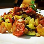 recette Poêlée charlottes, courgettes, cèpes, rillauds et tomates confites...