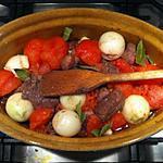recette Boeuf confit aux oignons