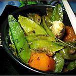 """recette Poulet,potimarron et pois gourmandes à """"l'orientale"""""""