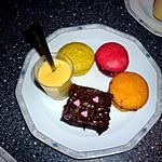 recette Fondant chocolat, macarons passion, cerise, pistache et crème vanille