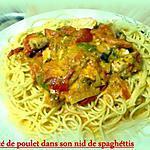 recette émincé de poulet dans son nid de spaghettis