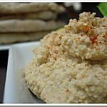 recette ** Saveurs libanaises: houmous (léger) accompagné de pain Pita aux céréales et graines fait maison**