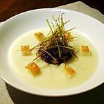 recette Potage Freneuse aux gésiers confits et julienne de poireaux frite...