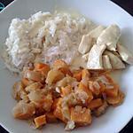 recette poulet curry avec poêlée de pommes et de patates douces