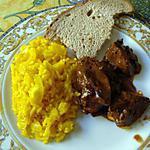 recette FOIES de volaille et son riz jaune