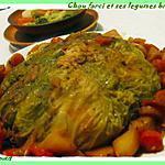 Chou farci et ses légumes braisés