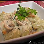 recette Gnocchi persillé aux champignons et saumon fumé, sauce gorgonzola
