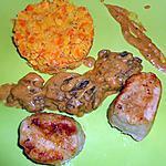 recette MEDAILLONS de PORC AUX LENTILLES ET CRÈME DE MORILLES