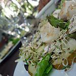 recette ** Carpaccio de poire, champignon et graines germées  à l'huile de vanille et aux noix de St jacques juste poêlées**