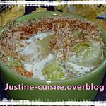 recette cassolette de poireaux et sa sauce au bleu