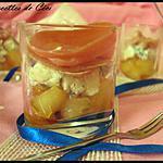 recette Verrines aux poire caramélisées, gorgonzola et jambon fumé