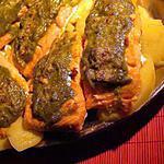 recette Pavé de  saumon  gratiné  à la  rhubarbe