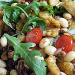 recette Salade tiède de cocos de Paimpol, roquette et poisson croustillant