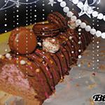 recette Bûche aux 3 mousses (chocolat noir, chocolat au lait et framboises)