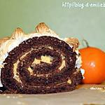 recette Bûche meringuée au chocolat et à la crème de de clémentine