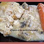 recette CHAPON ET SA SAUCE ONCTUEUSE AU CHAMPAGNE