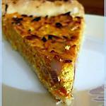 recette Tarte à la carotte - version ricotta et lardons, sur un nuage de ras el hanout