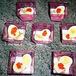recette Verrines d'oeufs de caille au saumon fumé....
